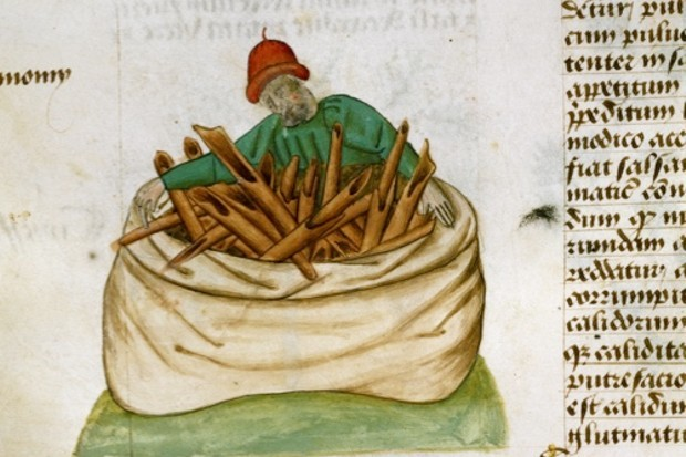 A medieval illustration of a cinnamon seller. (Getty Images)