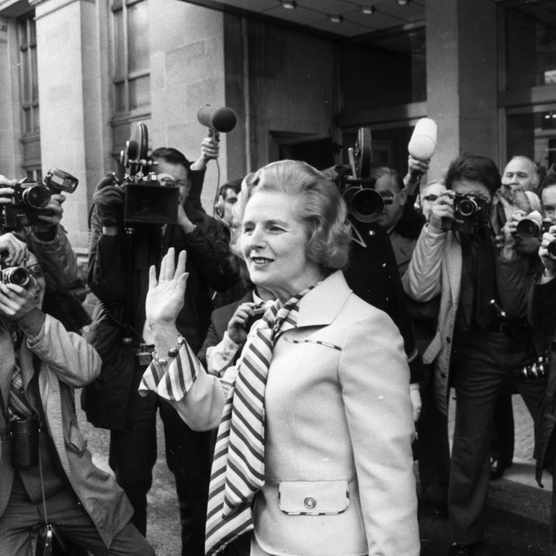 British Conservative leader Margaret Thatcher faces the press outside London's Europa Hotel following her victory in the leadership election, 20 February 1975. (Photo by Frank Barratt/Keystone/Getty Images)