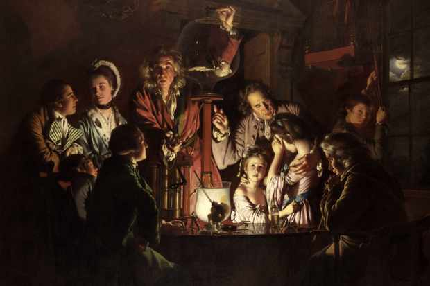A painting depicting an experiment in an English school on a bird in an air pump, 1768. National Gallery, London. (Photo by Photo12/UIG via Getty Images)