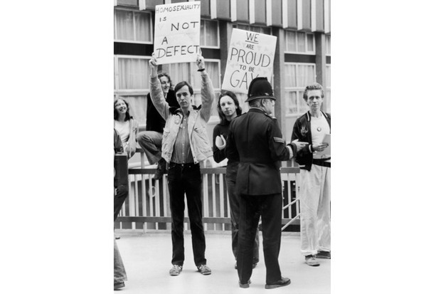 """Demonstrators in London in 1979. A """"huge wave of gay and lesbian activism sprang up in the 1970s,"""" says Florence Sutcliffe-Braithwaite. (Getty Images)"""