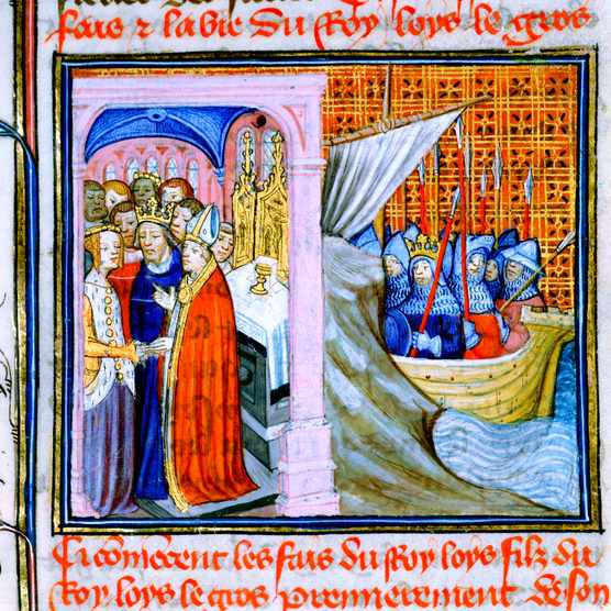 Two scenes from the Chronique de St Denis, late 14th century. The left-hand scene depicts the marriage of Eleanor of Aquitaine and Louis VII of France in 1137. The scene on the right shows Louis departing by ship to go on the Second Crusade in 1147. (Photo by Ann Ronan Pictures/Print Collector/Getty Images)