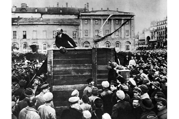 Vladimir Lenin speaks in Sverdlov square