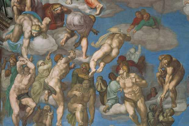 Detail from The Last Judgement, a fresco in the Sistine Chapel painted by the Italian Renaissance painter Michelangelo. The scene depicts the Second Coming of Christ and the final judgement of all humanity. (Mondadori Portfolio via Getty Images)