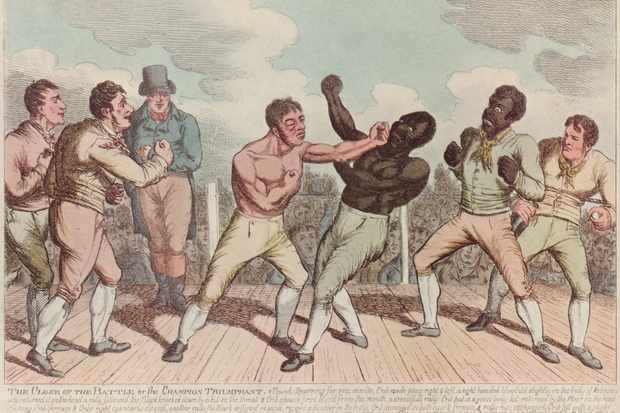 Tom Cribb lands a punch on Tom Molineaux while Molineaux's trainer, Bill Richmond, looks on. Molineaux got the upper hand in the pair's first fight – which ended in controversy when a mob stormed the ring – but was defeated in this, the 1811 rematch. (Edward Gooch/Edward Gooch/Getty Images)