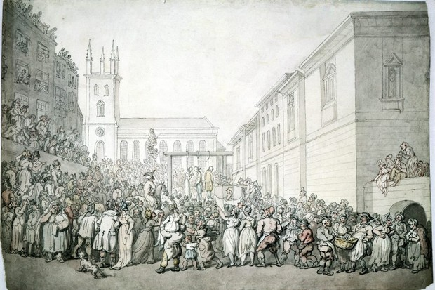 An illustration of a public execution at Newgate, London, late 18th century. (Photo by Museum of London/Heritage Images/Getty Images)