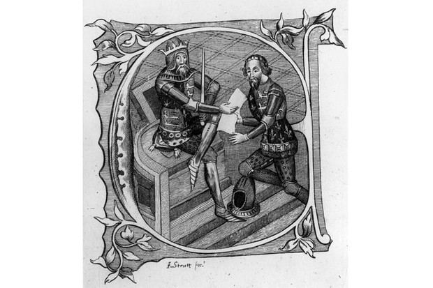 Edward the Black Prince receiving from his father, King Edward III, the conquered provinces of France gained during the Hundred Years' War. (Photo by Hulton Archive/Getty Images)
