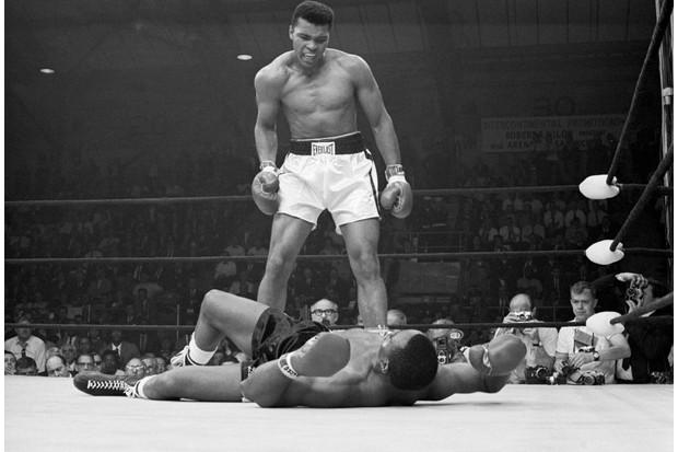 Muhammad Ali standing over Sonny Liston