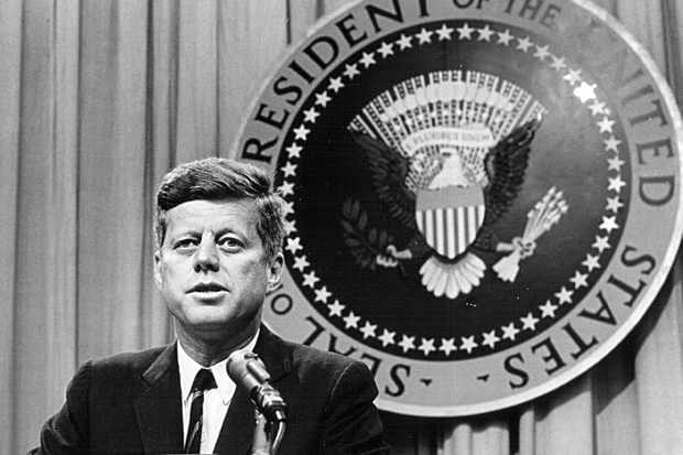 President John F Kennedy speaking at a press conference, c1963. (Photo by National Archive/Newsmakers)
