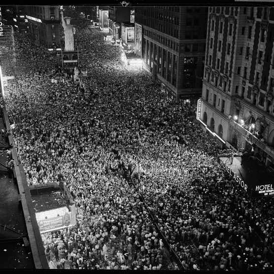 Night view of people jammed into Times Square, New York, celebrating the end of the war in Europe. (Photo by Herbert Gehr/The LIFE Picture Collection/Getty