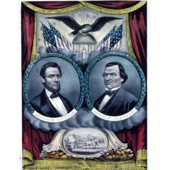 A Grand National Union Banner depicting president Abraham Lincoln and his running mate Andrew Johnson. (Photo by MPI/Getty Images)