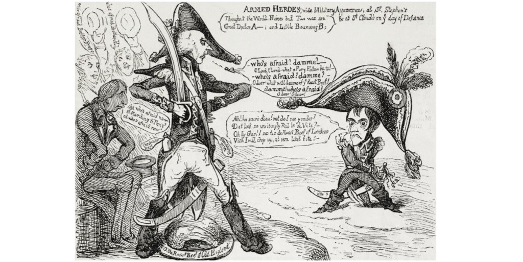 Addington and Napoleon facing each other across a narrow channel, from a caricature by James Gillray. Illustration from the magazine 'The Graphic', 9 July 1881. (Getty Images)