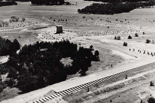 Aerial view of the outside of Treblinka extermination camp, Germany, 1943. (Photo by Mondadori Portfolio via Getty Images)