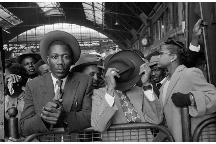 West Indian immigrants arrive at Victoria Station, London, following their journey from Southampton Docks. Originally published in 'Picture Post', 1956. (Photo by Haywood Magee/Getty Images)