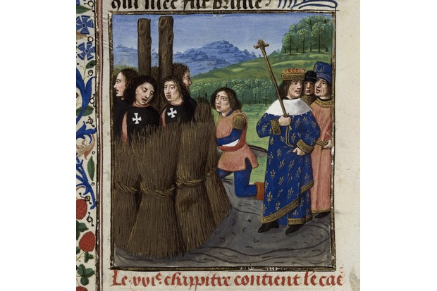 The burning of Templars (From: De casibus virorum illustrium by Giovanni Boccaccio). Artist: Master of the White inscriptions (active ca 1480)