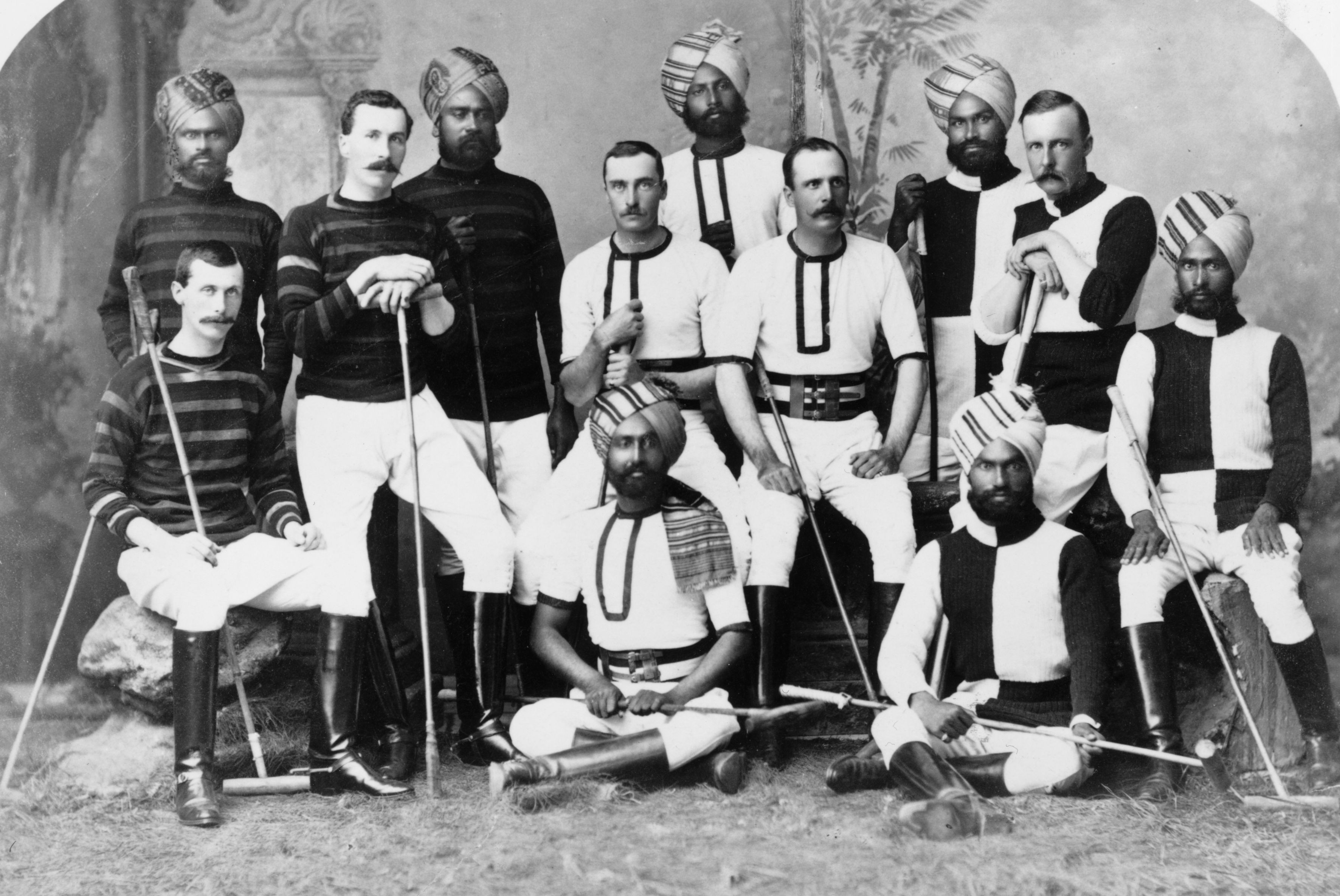 Indian princes and British Army officers in the Hyderabad contingent polo team, c1880. (Photo by Hulton Archive/Getty Images)