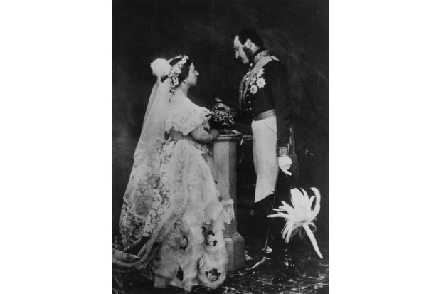 Queen Victoria and Prince Albert in a re-enactment of their marriage ceremony, 1854. Prince Albert is in military uniform and is wearing his medals. (Photo by Roger Fenton/Roger Fenton/Getty Images)