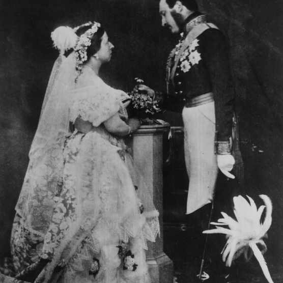 1854: Queen Victoria (1819 - 1901) and Prince Albert (1819 - 1861) in a re-enactment of their marriage ceremony. Prince Albert is in military uniform and is wearing his medals. (Photo by Roger Fenton/Roger Fenton/Getty Images)