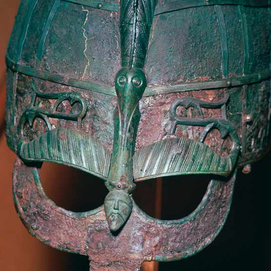 Detail of a Viking helmet from grave one at Vendel, Uppland, Sweden, 7th century