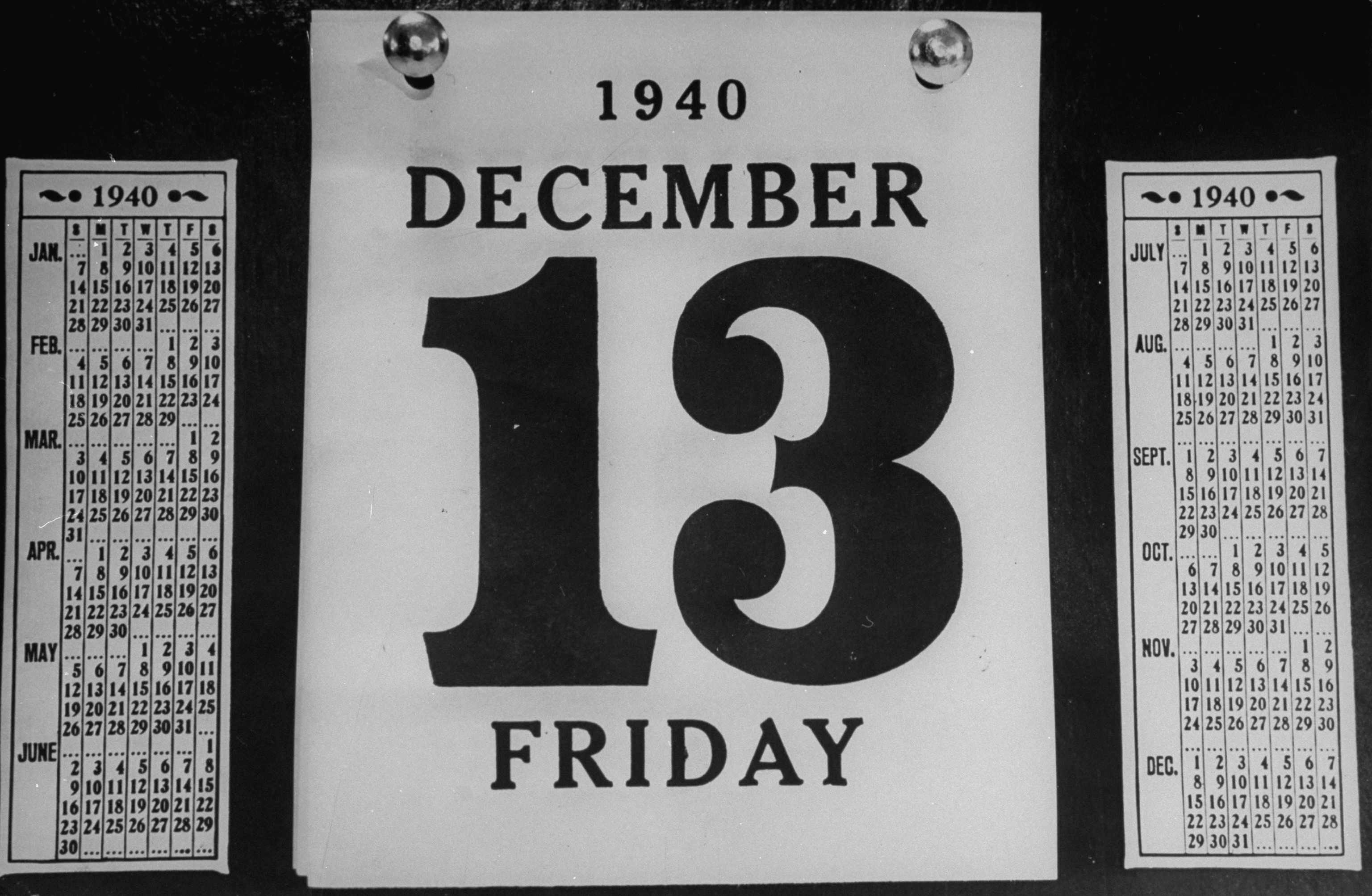 A view of a calander showing the date, Friday the 13th. (Photo by William C. Shrout/The LIFE Picture Collection/Getty Images)