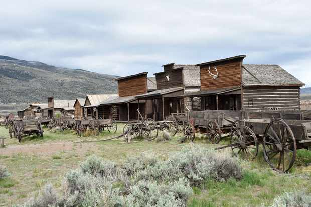 A view of Old Trail Town, a collection of historic western buildings and artifacts, located in Cody, Wyoming. (Photo by Mladen Antonov/AFP/Getty Images)