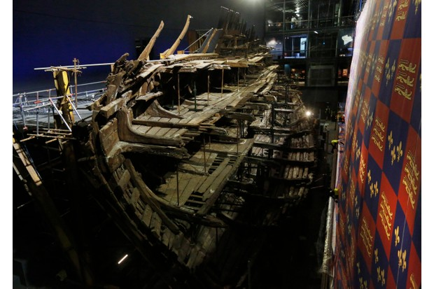 Henry VIII's warship, the Mary Rose, on display in Portsmouth, England, in July 2016, after a £5.4m museum revamp. (Photo by Olivia Harris/Getty Images)