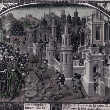 A painting of the Pillage of Jerusalem by Antiochus, c1066. (Photo by Fotosearch/Getty Images)