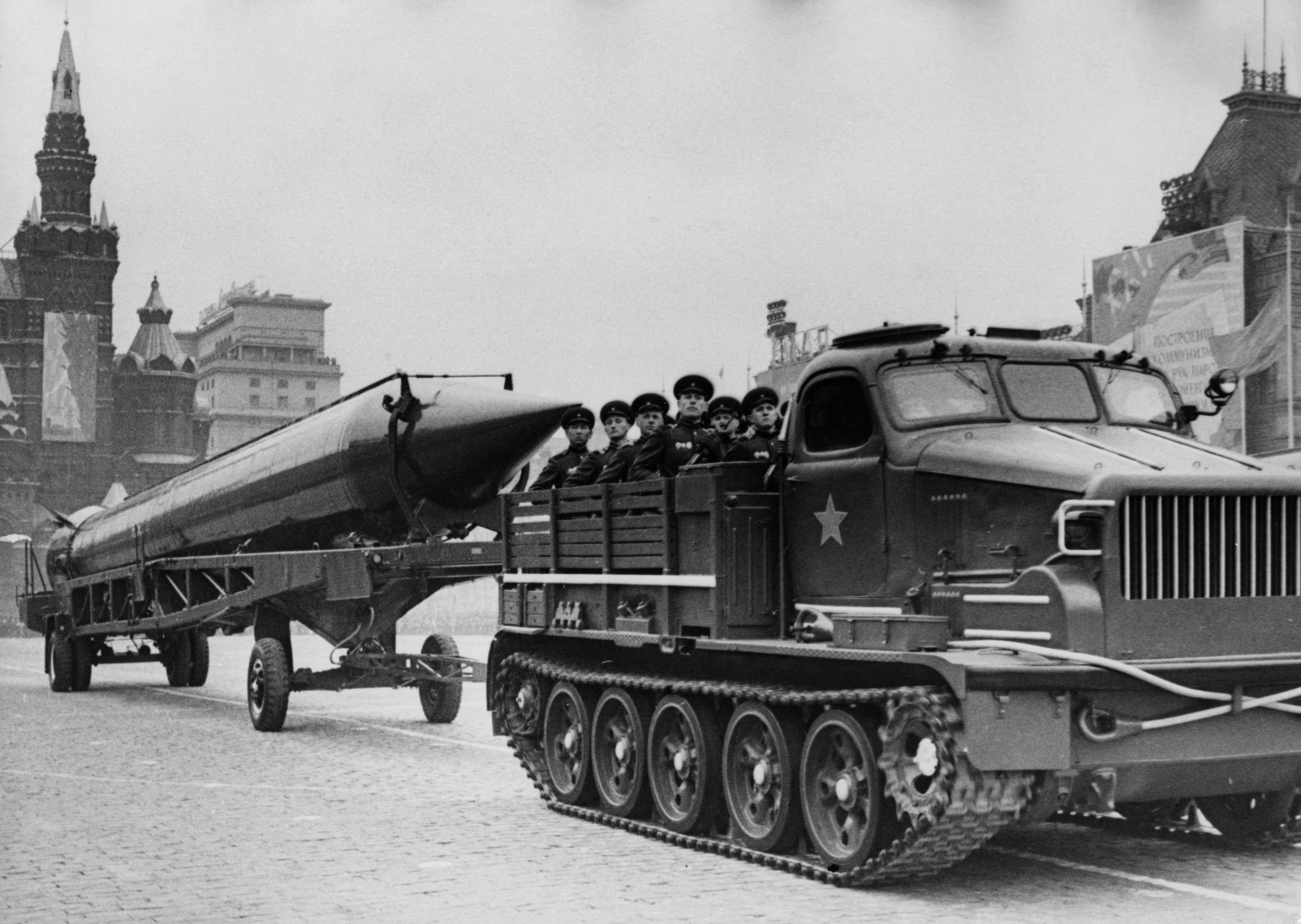 Soviet missiles in Red Square during the May Day Parade of 1962, the year the world came closest to nuclear war. (Photo by Sovfoto/UIG via Getty Images)