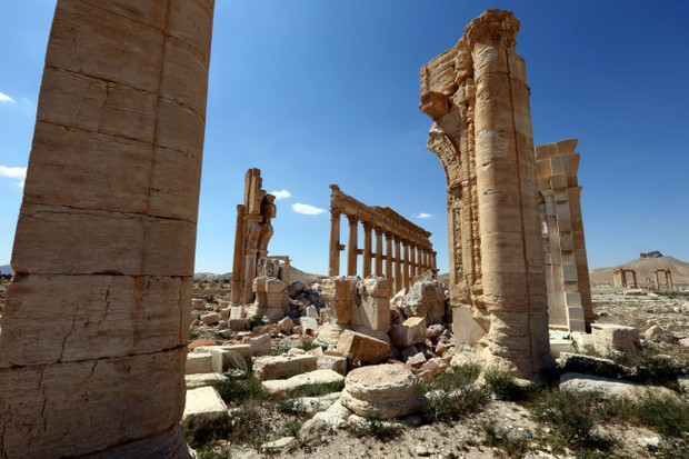 Damaged monuments at Palmyra. (JOSEPH EID/AFP/Getty Images)