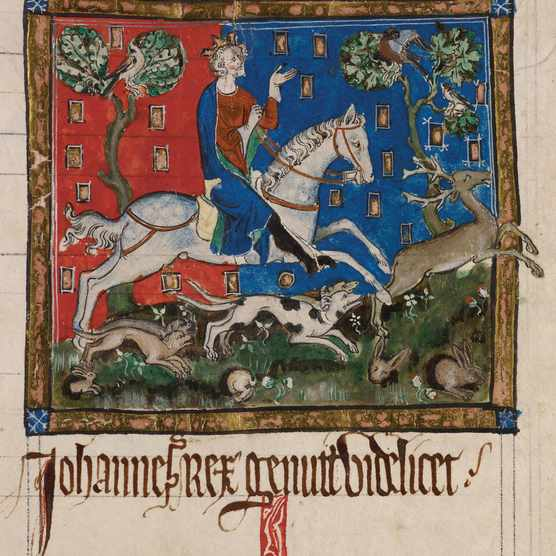 King John hunting on horseback, 14th century