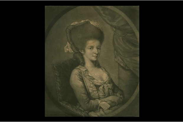 Illustration of an 18th century woman with large hair style