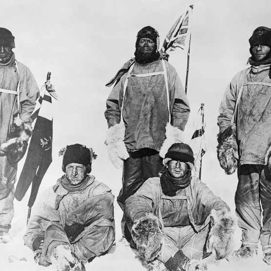 The members of Captain Scott's ill-fated expedition to the South Pole. (Photo by Bettmann via Getty Images)