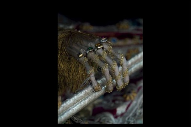 Skeleton hand of St Valentin with gold rings