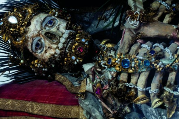 Skeleton of St Valerius covered in jewels