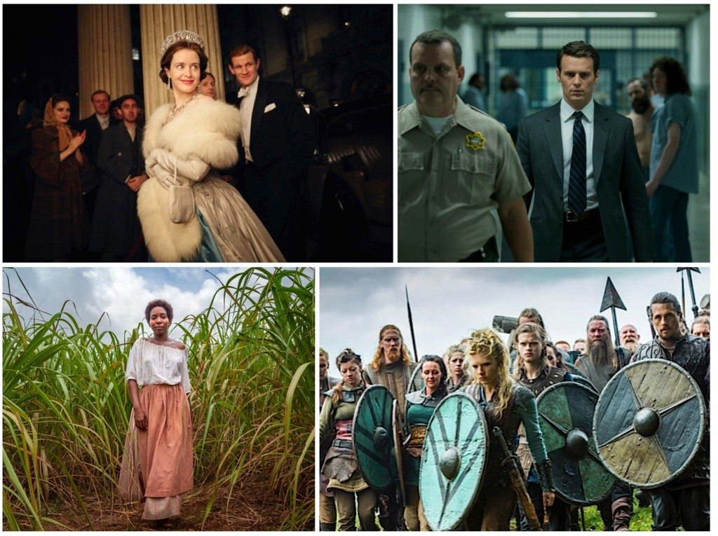 Christmas historical TV (clockwise): The Crown, Mindhunter, Vikings and The Long Song. (Images Netflix/BBC)