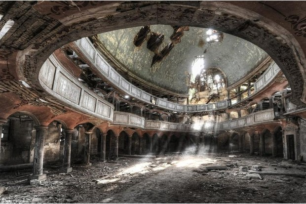 Photo of the interior of an ornate building, possibly a theatre