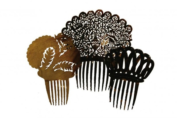 Photo of three Victorian hair combs