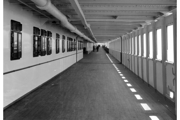 This photograph, taken aboard the Olympic later in her career, gives some idea of the various decks in the after section of the Titanic. (Authors' Collection)