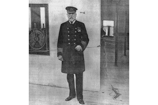 Captain Edward John Smith stands on the Bridge of the Titanic on the morning of April 10, 1912. (Authors' Collection)