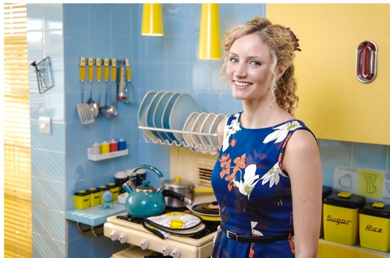 Programme Name: Hidden Killers of the Post War Home - TX: n/a - Episode: n/a (No. n/a) - Picture Shows: in 1950s kitchen. Dr Suzannah Lipscomb - (C) Modern TV - Photographer: Gary Morrisroe