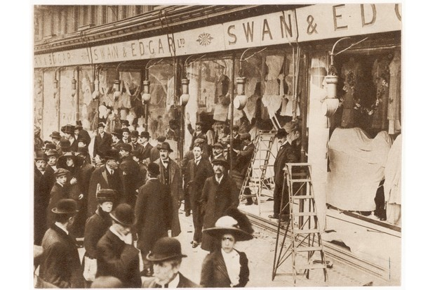 Suffragettes used catapults to smash shop windows, as seen at Swan & Edgar in 1912. (Photo by Mary Evans)