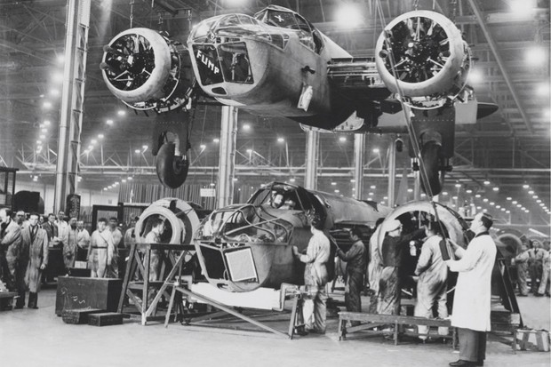 Industrial might: Blenheim bombers in production in England, late 1939. The Allies' combined industrial strength proved too much for the Axis. (Getty Images)