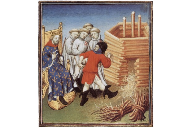 Knight Templars led to their execution while being watched by the French king Philip IV the Fair or Philippe IV le Bel, May 1310. Illuminated manuscript, Bibliotheque de l'Arsenal .
