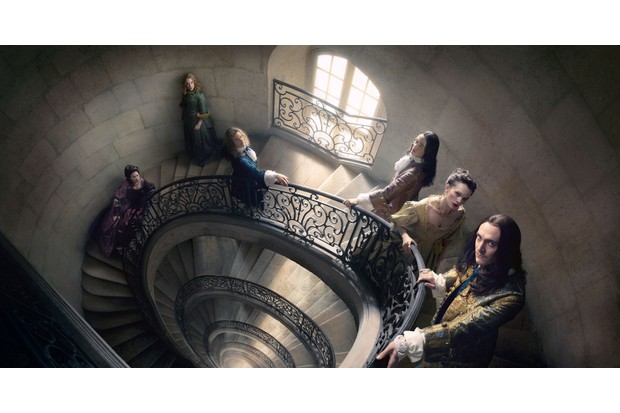WARNING: Embargoed for publication until 00:00:01 on 11/03/2017 - Programme Name: Versaille - S2 - TX: n/a - Episode: Versailles S2 - Portraits (No. n/a) - Picture Shows:  Madame Agathe (SUZANNE CLEMENT), Princess Palatine (JESSICA CLARK), Chevalier (EVAN WILLIAMS), Philippe (ALEXANDER VLAHOS), Madame de Montespan (ANNA BREWSTER), Louis XIV (GEORGE BLAGDEN)  - (C) © Tibo & Anouchka, Capa Drama, ZodiakFiction & Docs, Incendo, Canal+ - Photographer: © Tibo & Anouchka, Capa Drama, ZodiakFiction & Docs, Incendo, Canal+