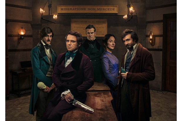WARNING: Embargoed for publication until 00:00:01 on 08/08/2017 - Programme Name: Quacks - TX: 15/08/2017 - Episode: Quacks Generics (No. n/a) - Picture Shows:  William (MATHEW BAYNTON), Robert (RORY KINNEAR), Dr Hendrick (RUPERT EVERETT), Caroline (LYDIA LEONARD), John (TOM BASDEN) - (C) Lucky Giant - Photographer: Todd Antony