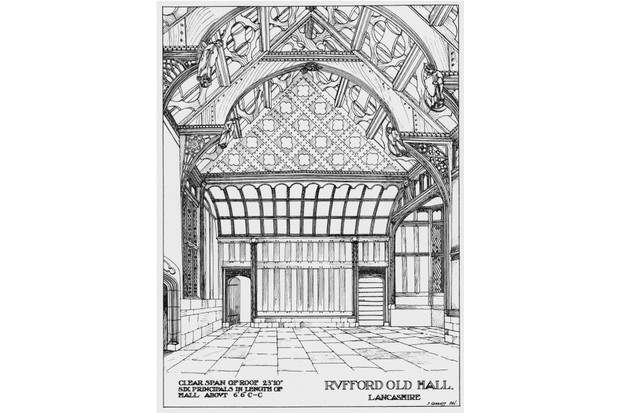 A vintage drawing showing the Great Hall where Shakespeare may have entertained Sir Thomas Hesketh. (© Zoe Bramley)