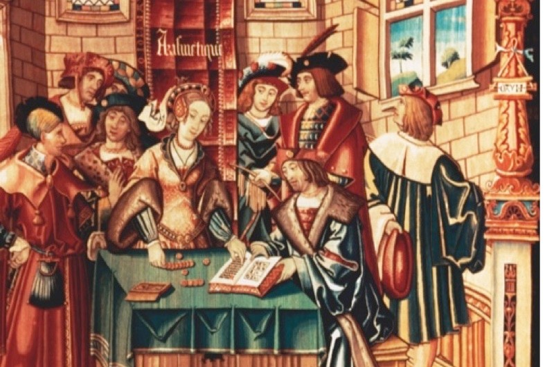A loan transaction being recorded in a ledger, shown in a Flemish tapestry known as The Liberal Arts – Arithmetic, of around 1520. (Getty)