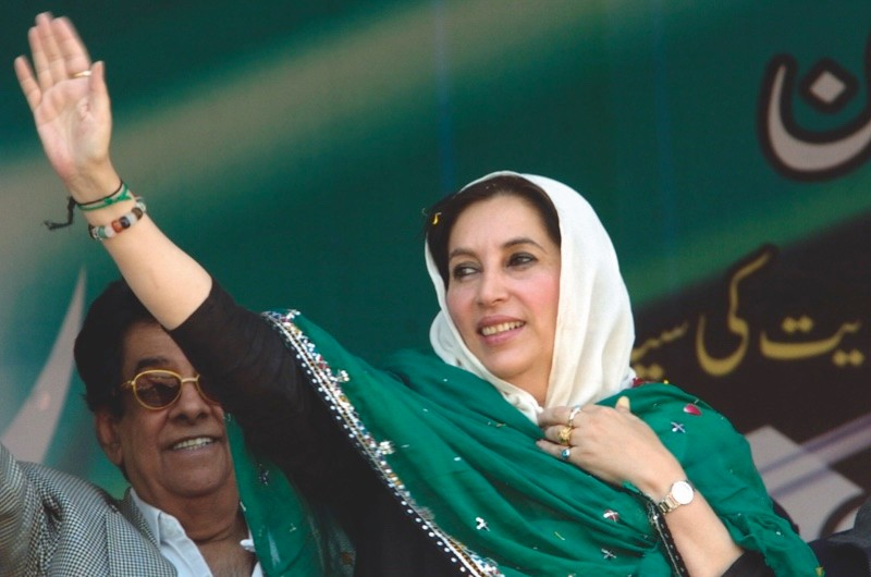 Benazir Bhutto on the campaign trail in December 2007, the same month that she was assassinated. (Photo by Getty Images)