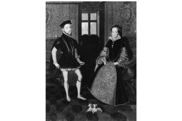 Circa 1554; Philip II, (1527 - 1598), king of Spain from 1556, with Queen Mary I of England, (1516 - 1558), (Mary Tudor); they married in 1554. Original Artwork:Engraved by Joseph Brown after the drawing by G P Harding of 1812, after the painting by Antonio Moro. (Photo by Hulton Archive/Getty Images)