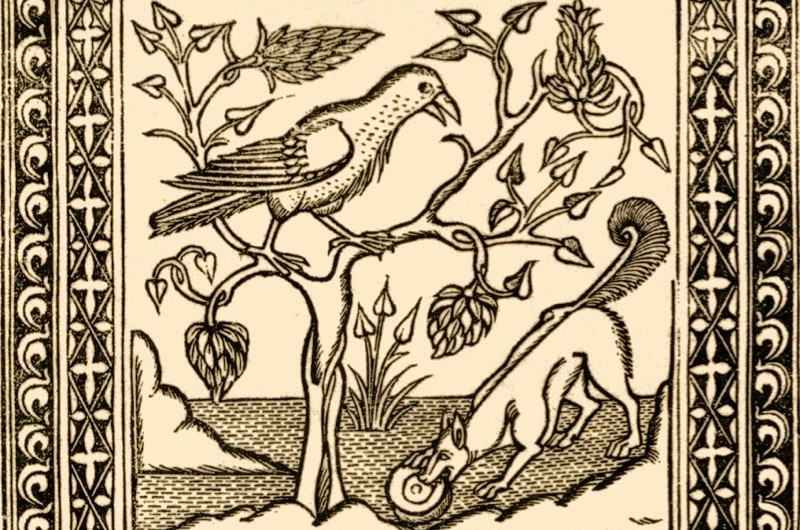 Aesop's fables: The Fox and The Crow. Illustration after 1485 edition printed in Naples by German printers for Francesco del Tuppo. (Photo by Culture Club/Getty Images