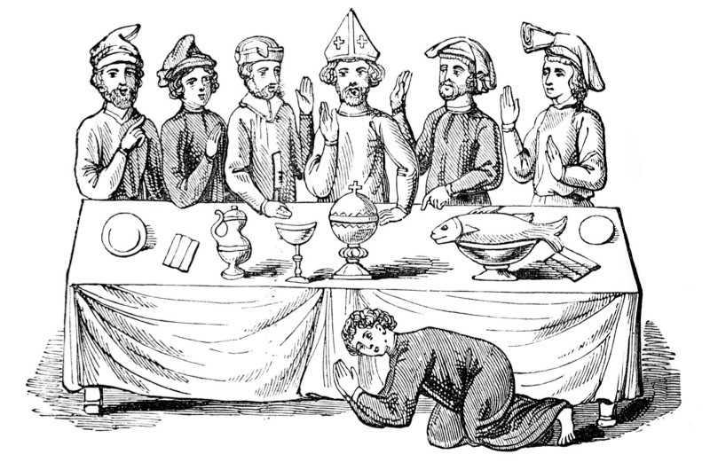 Medieval banquet: saying grace before meal. From an engraving of an illuminated medieval Royal Manuscript. (Photo by Culture Club/Getty Images)
